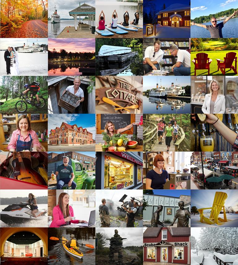 Colage of local business owners, landscapes and people