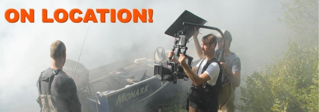 "outdoor film crew shooting a movie, text says ""on location"""