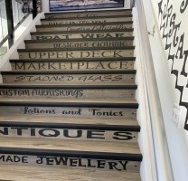 Staircase with retail words