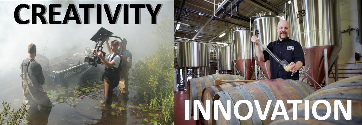 "Film production and craft brewing, image text say ""Creativity and Innovation"""