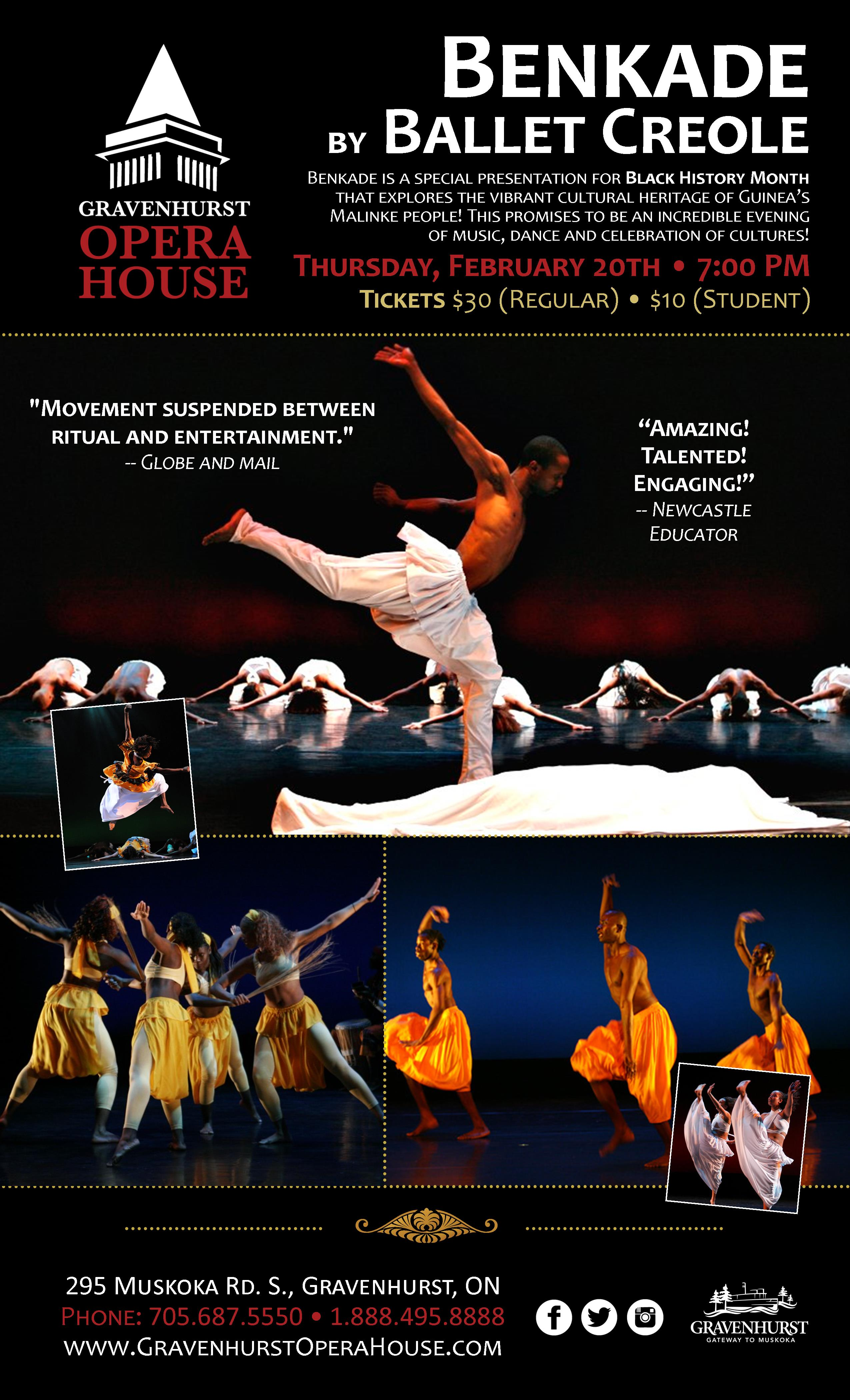 Promotional Poster for the upcoming Bankade Ballet Creole Performance on February 20, 2020