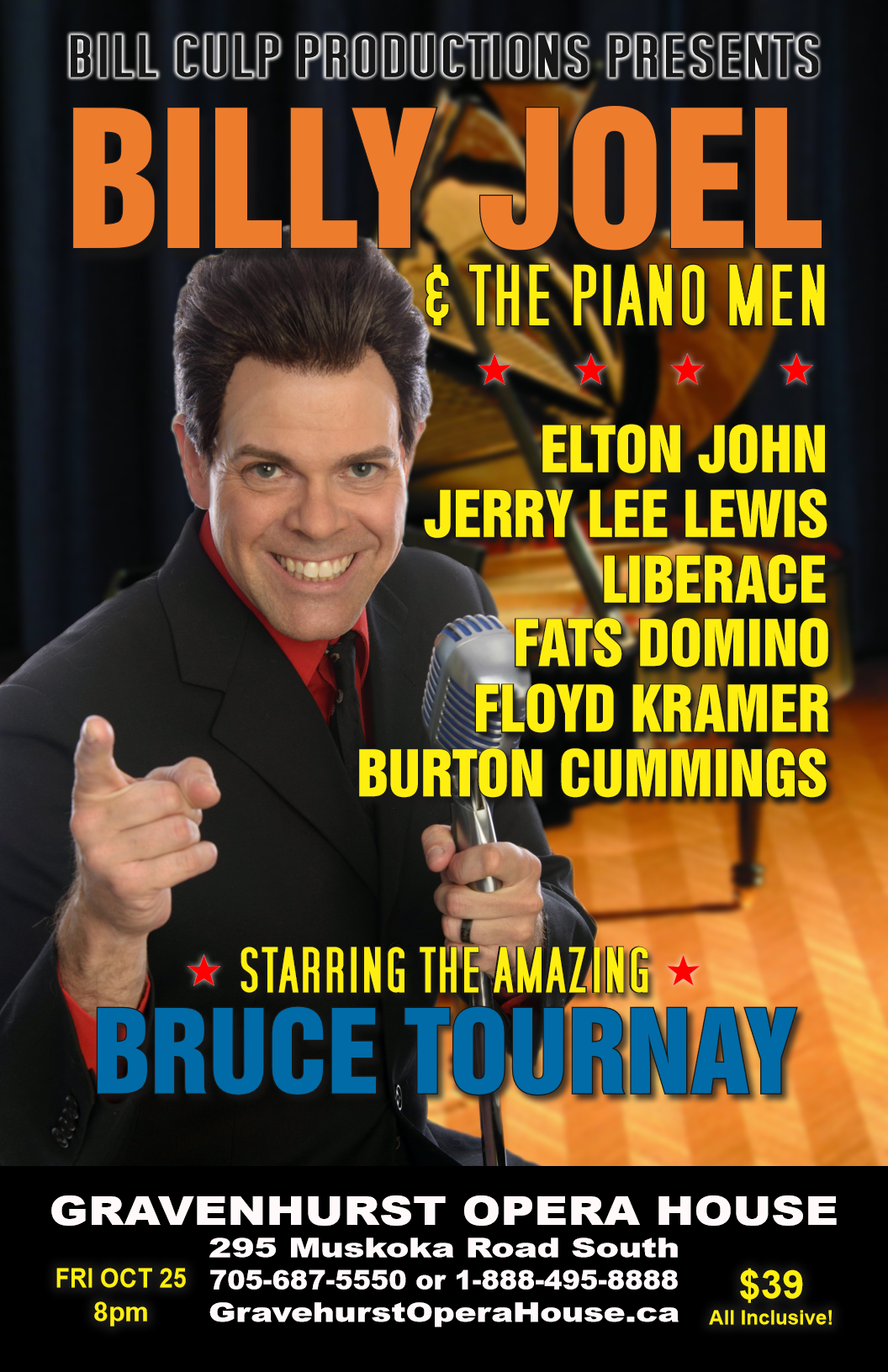 Promotional Poster for the upcoming Billy Joel and the Piano Men tribute show October 25, 2019
