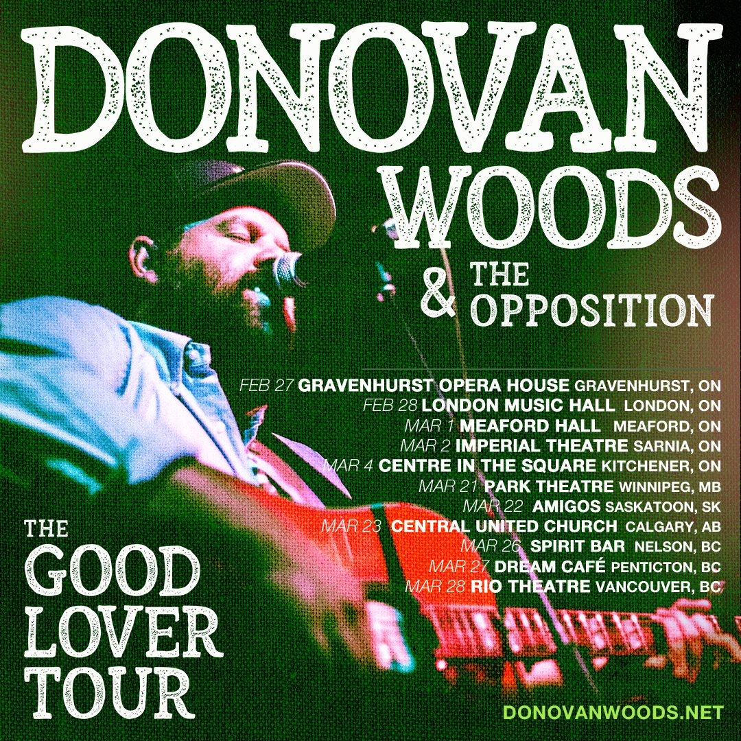 Promotional Image for the upcoming Donovan Woods concert on February 27