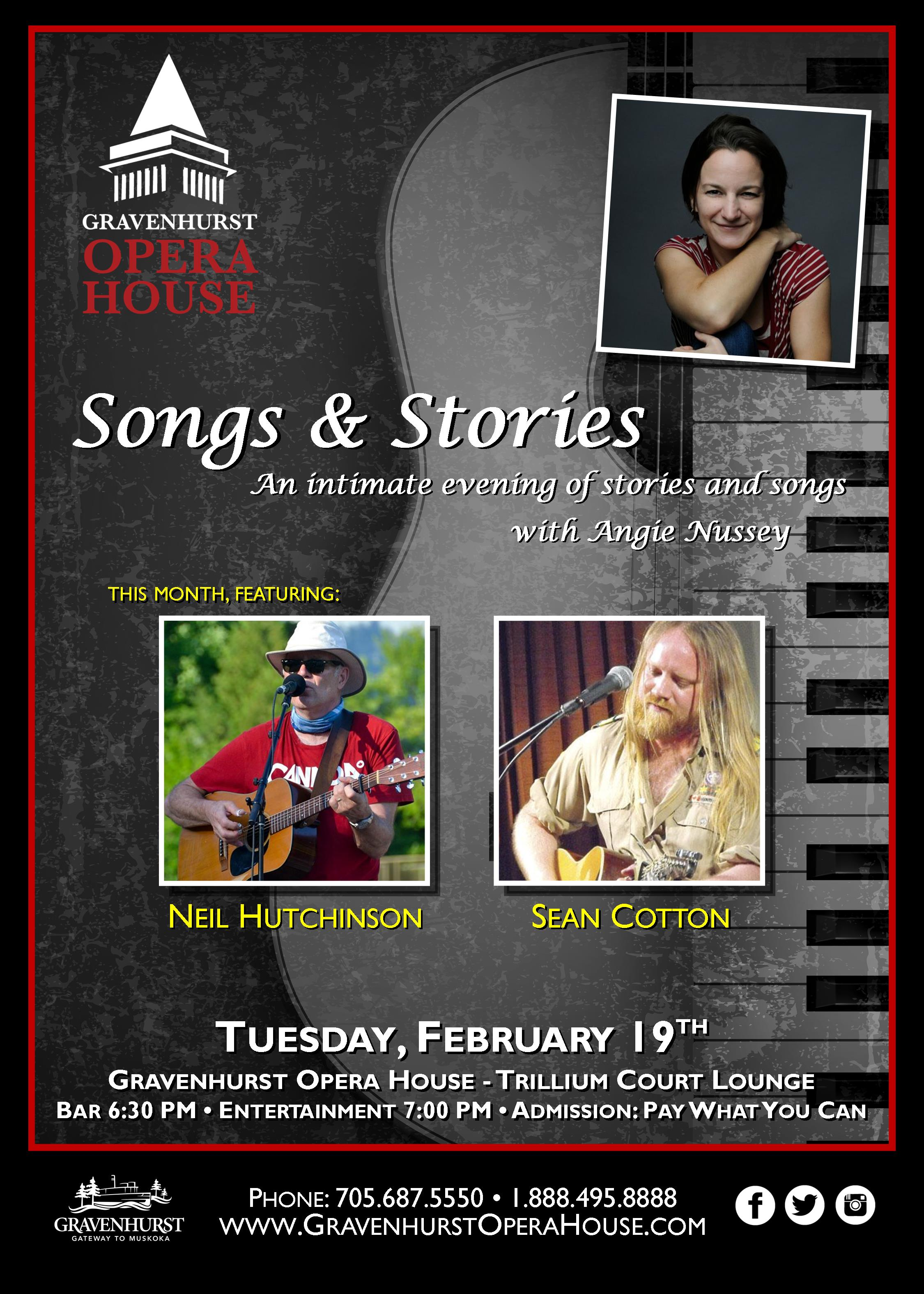 Promotional poster for the upcoming February installment of Songs & Stories happening February 19