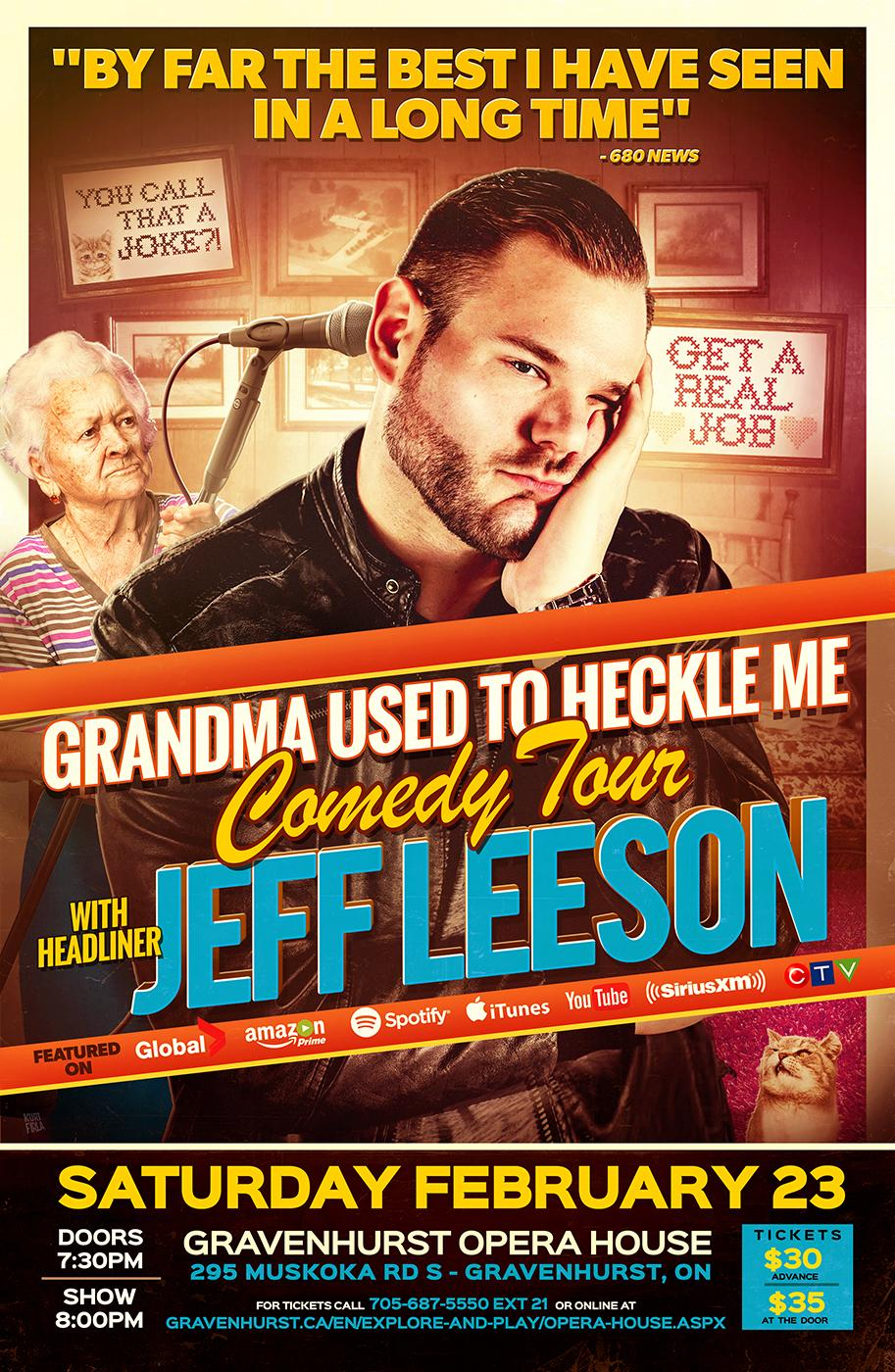 Promotional poster for upcoming Jeff Leeson comedy tour on February 23, 2019