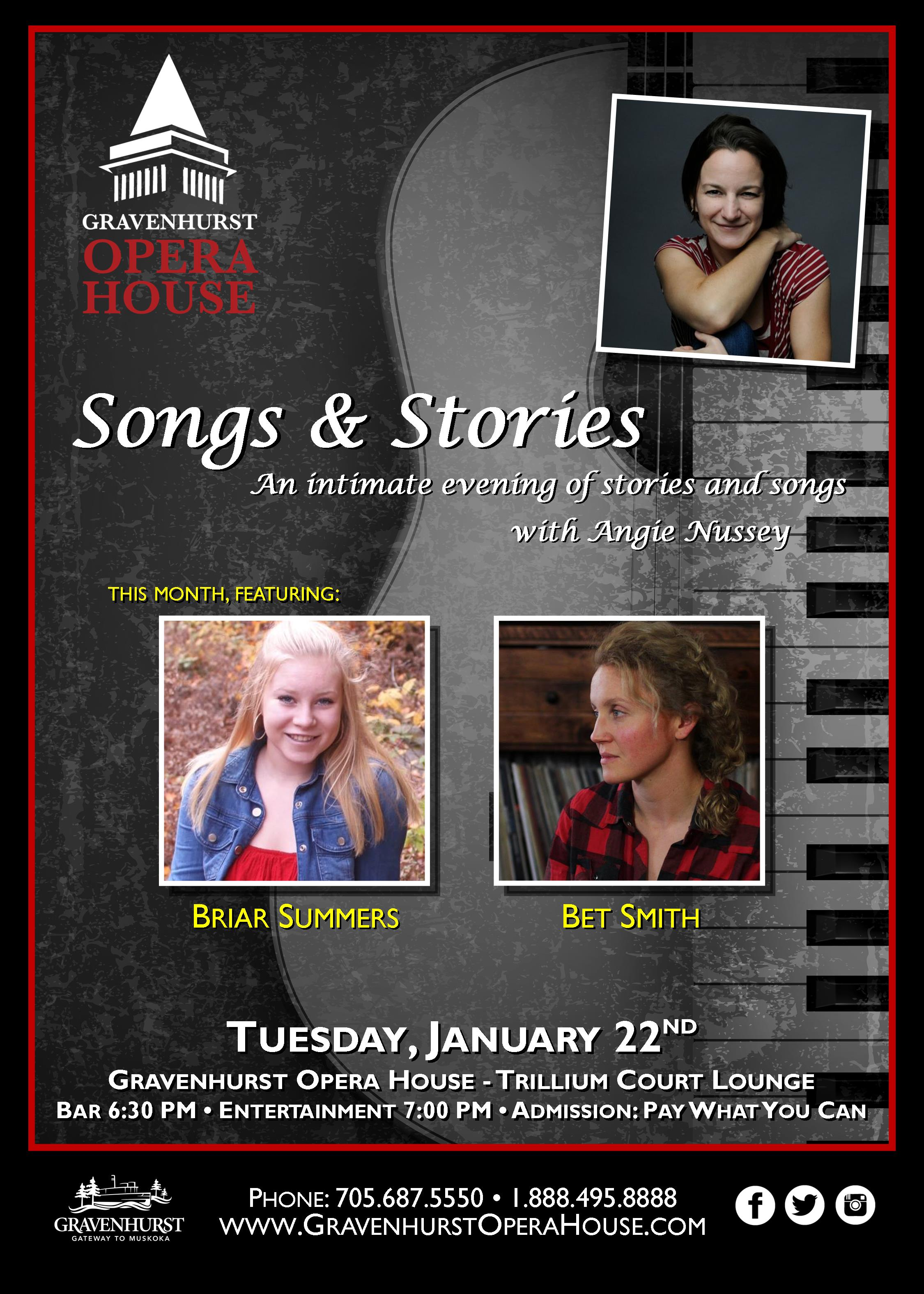 Promotional Poster for the upcoming Songs & Stories concert happening January 22nd