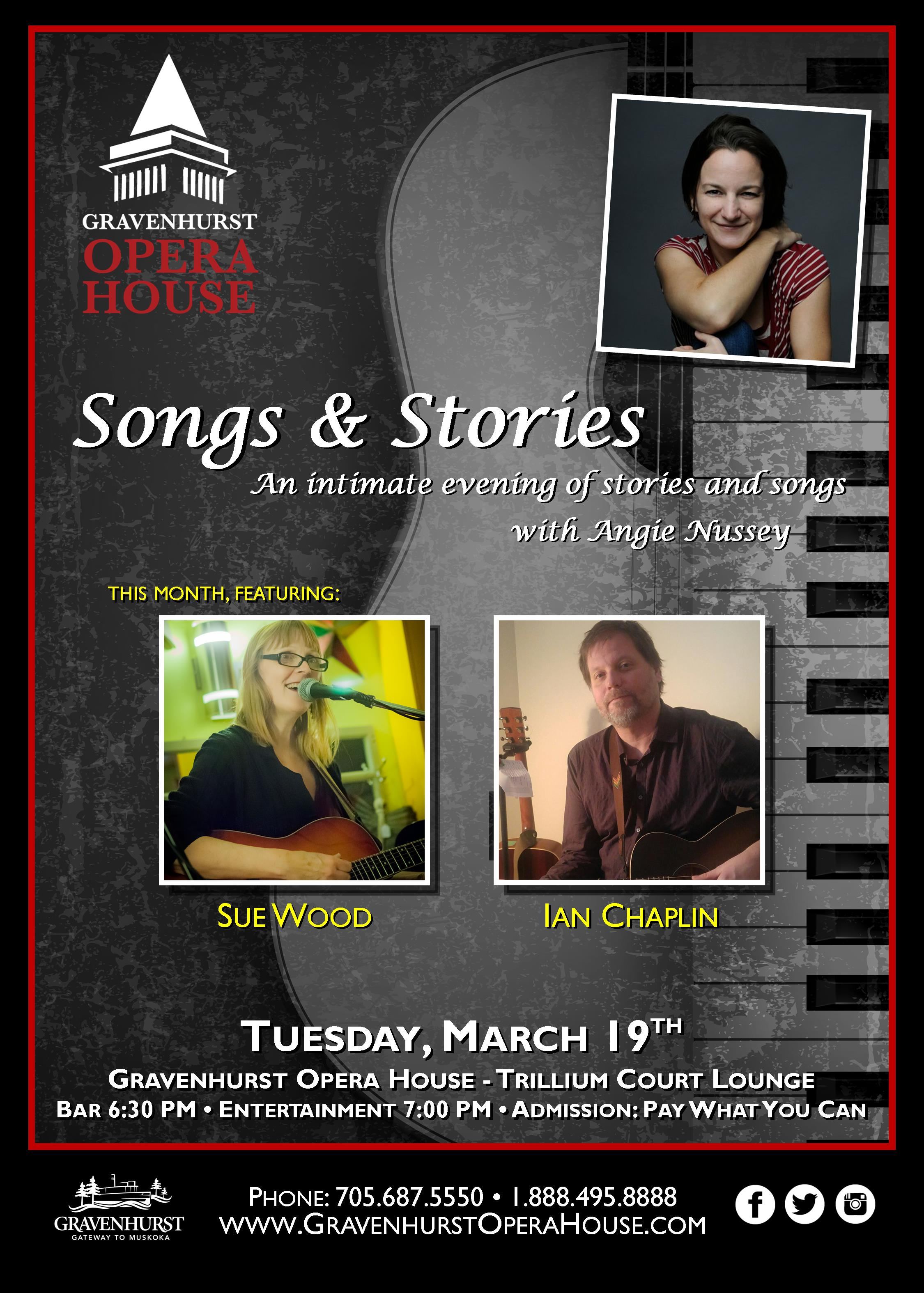promotional poster for the upcoming March installment of Songs & Stories happening March 19th