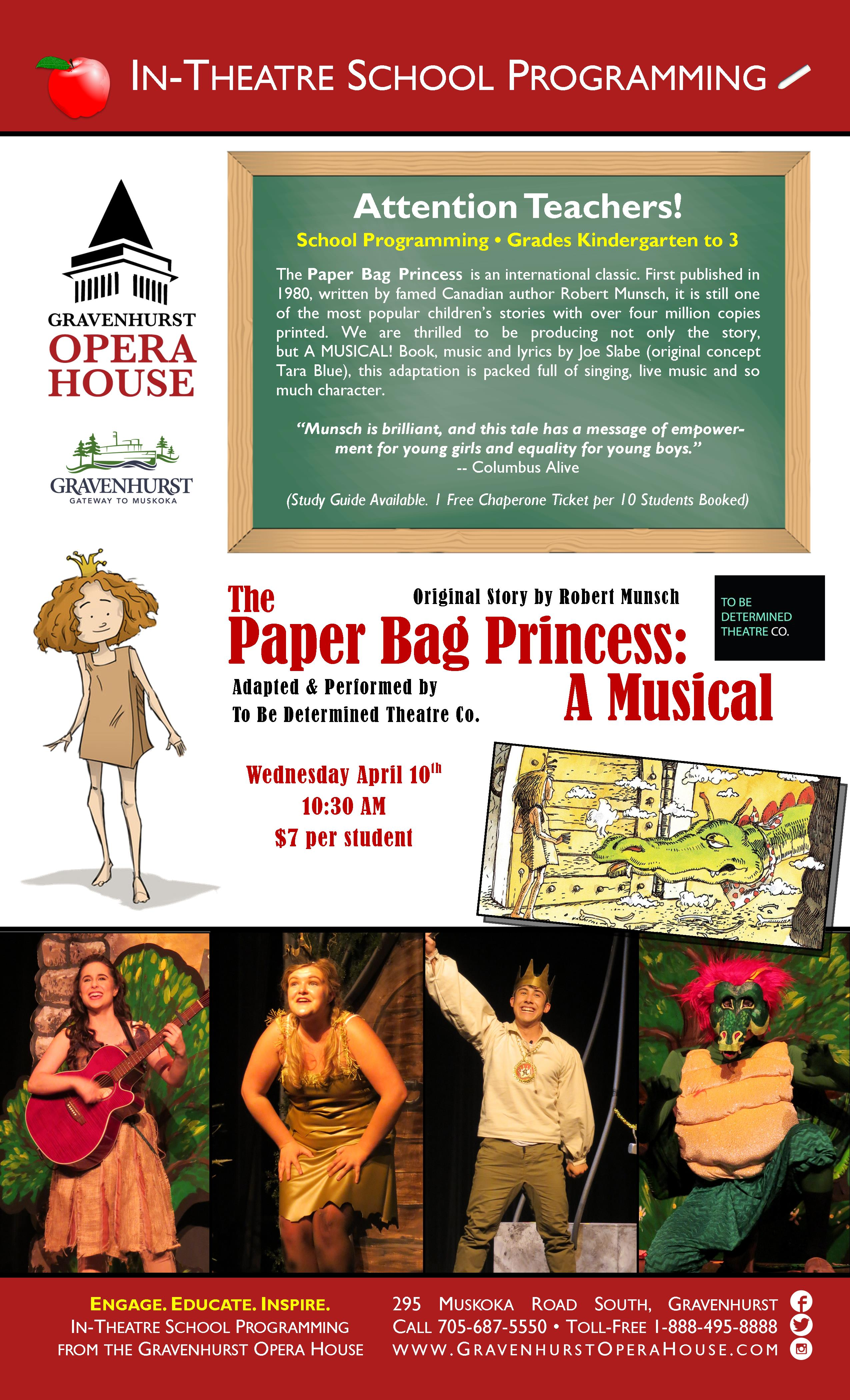 Promotional Poster for the upcoming school show The Paper Bag Princess: A Musical on April 10th, 2019