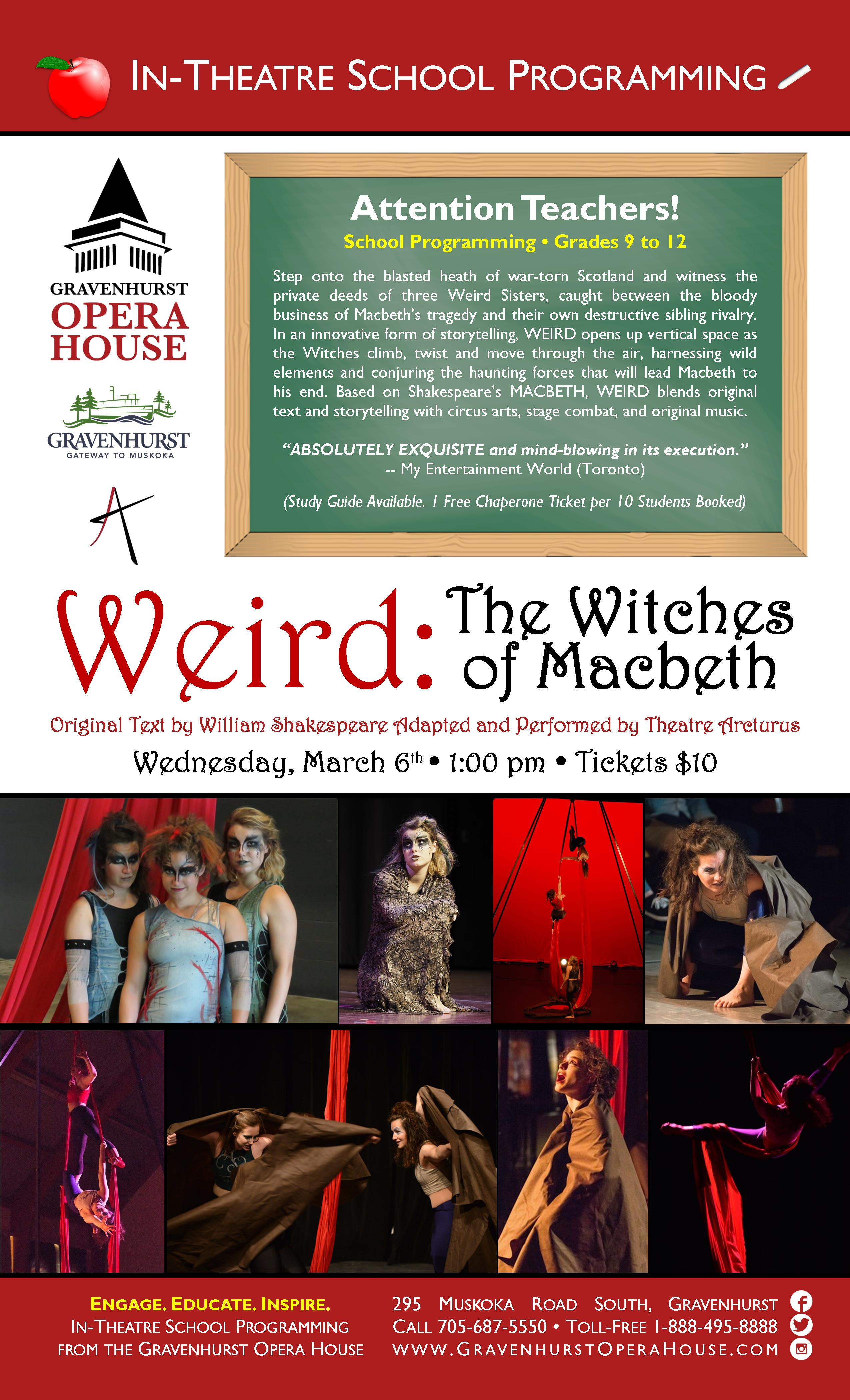 Promotional Poster for the upcoming school show Weird: The Witches of Macbeth on March 6th, 2019