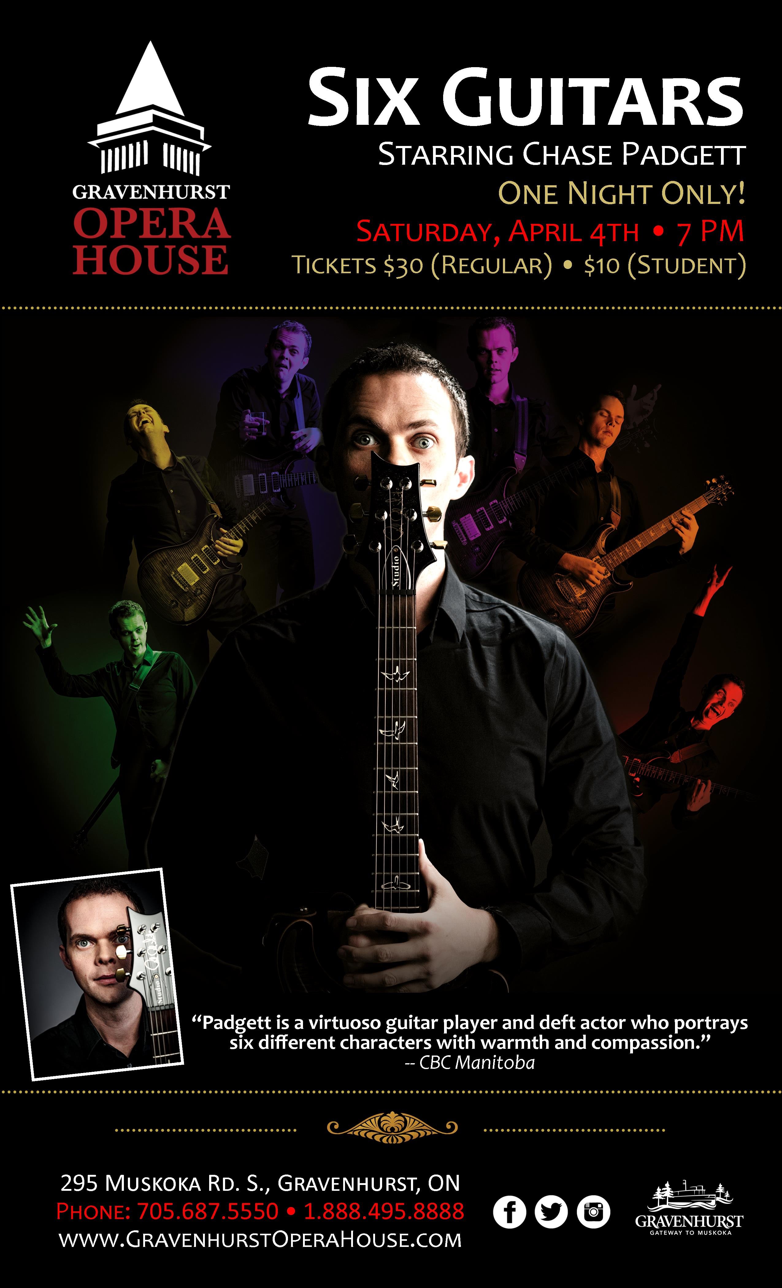 Promotional Poster for Six Guitars concert April 4th at the Gravenhurst Opera House