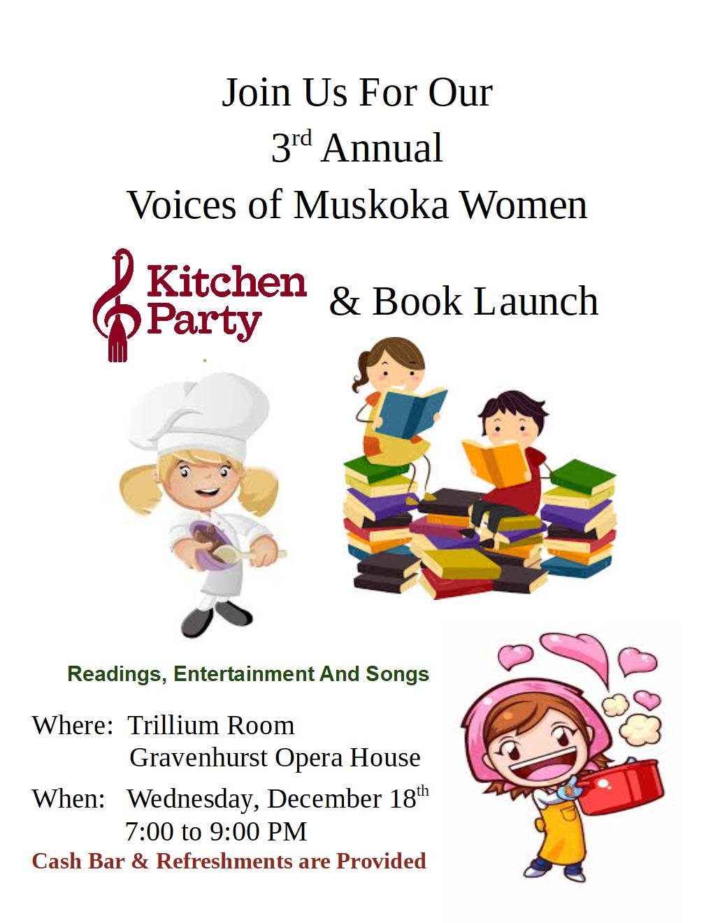 Promotional poster for the upcoming Voices of Muskoka Women Kitchen Party