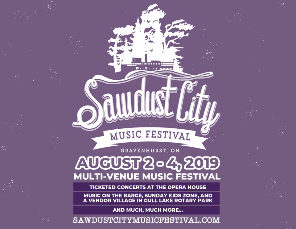 Promotional image for the 2019 Sawdust City Music Festival