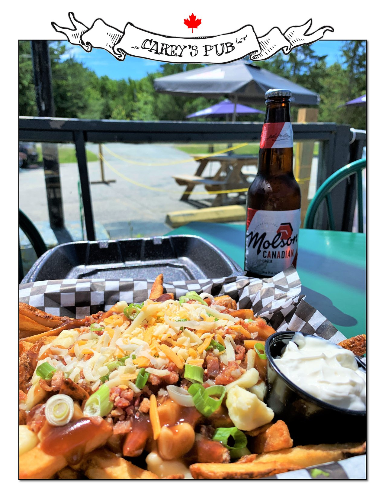 A poutine and a beer, photo in a white border