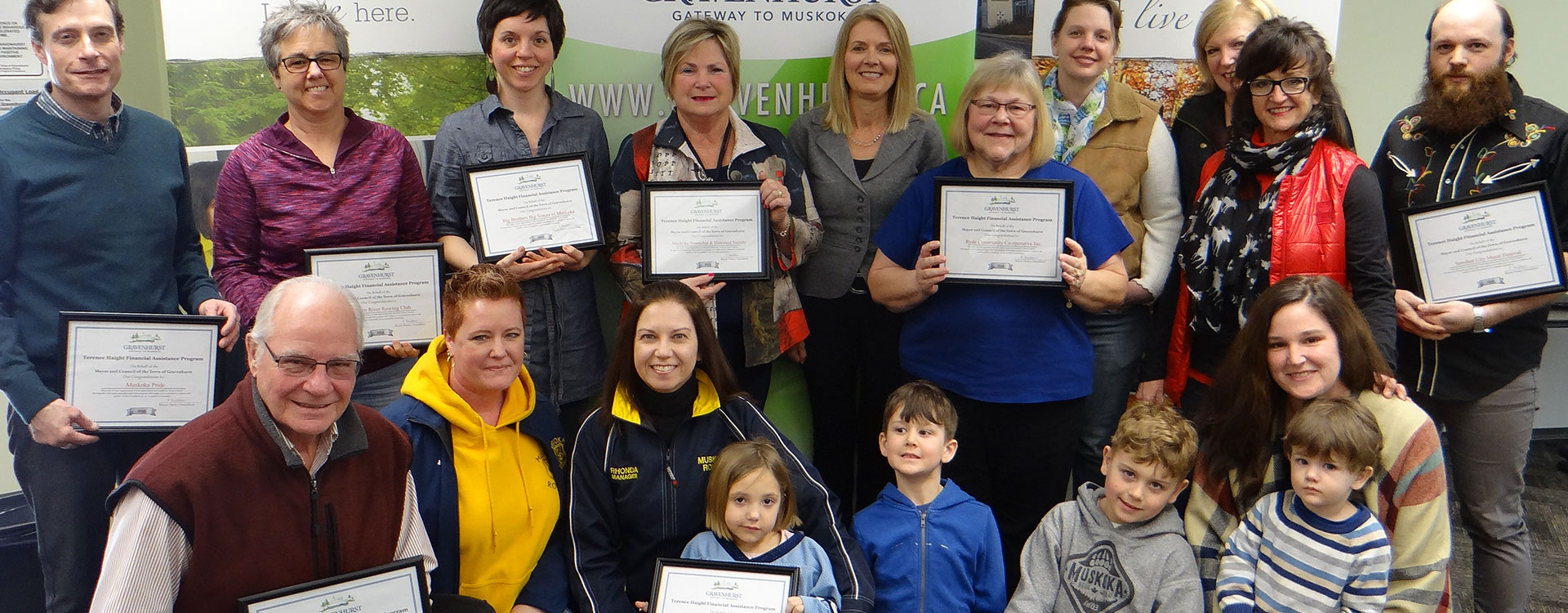 Community Awards, picture of recipients Terence Haight Grant Funding with Mayor
