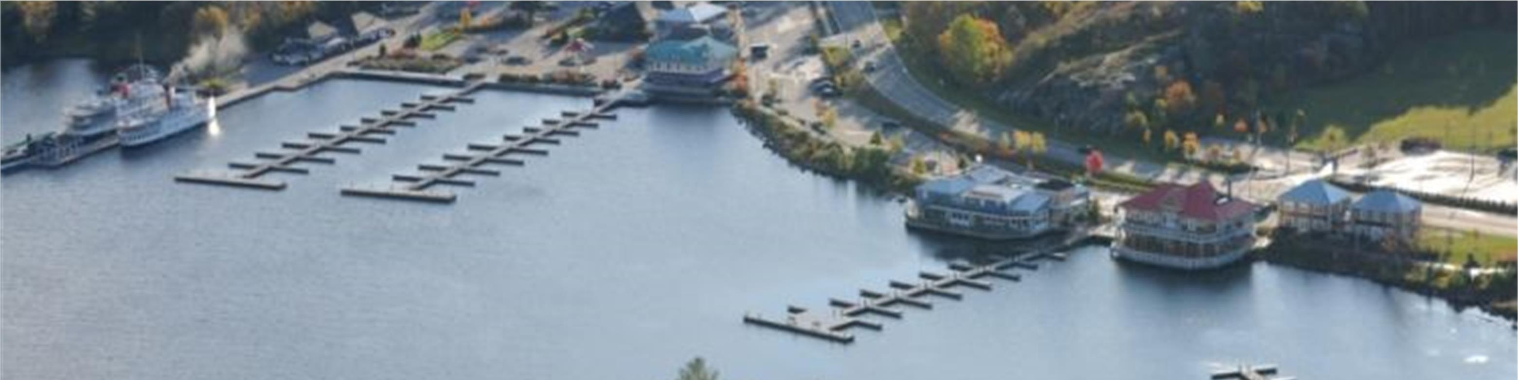 aerial photo of muskoka wharf