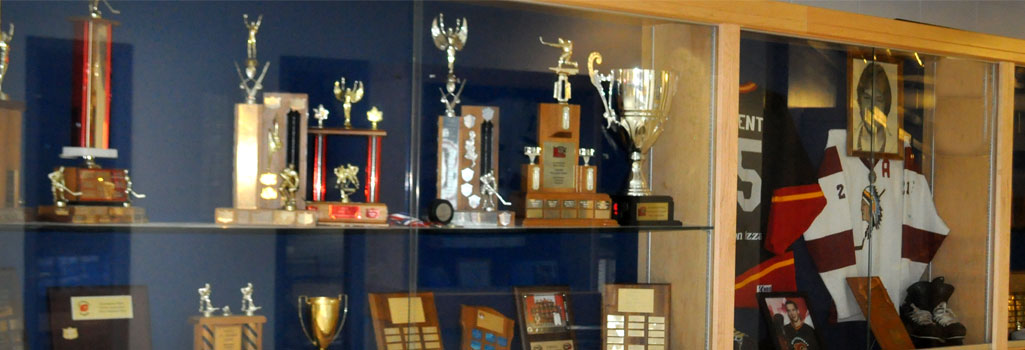 Awards, sports hall of fame, cabinet full of awards,