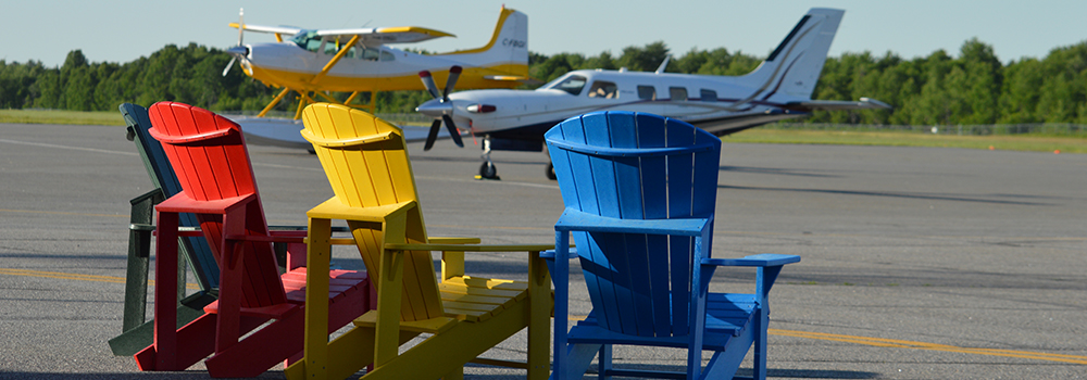 Muskoka Airport Runway with Muskoka Chairs and Planes